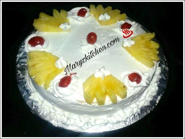 Fresh Cream Eggless Pineapple Cake Recipe